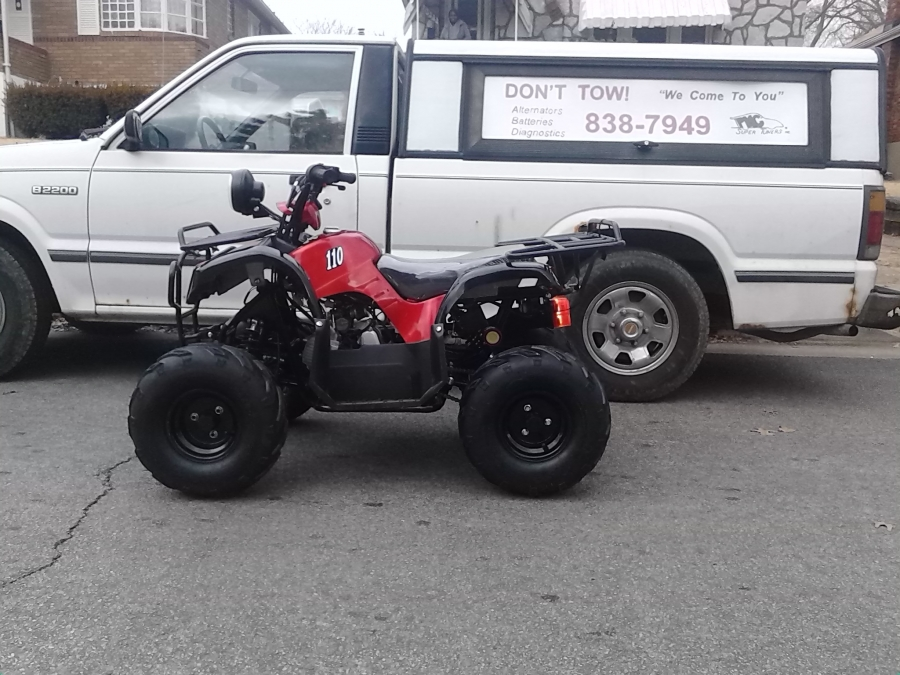Here is a finished 2012 tao tao 110 4 wheeler  crate build ready to ride. It arrived at their home from the atv dealer in a crate they called PMC Super Tuners, we sent a technician to assemble the atv on the spot. After installing the tires/wheels, handle bars, linkages, adjusting the cables/brakes/lights, filling all the fluids checking and test riding.  Another fine example of how convenient PMC Super Tuners mobile atv repair service can be to the customer.