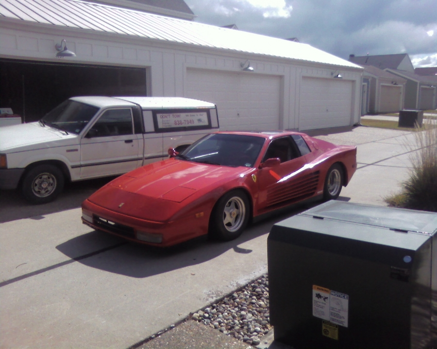 Mobile Auto Mechanic Shop Service, Here is the vehicle after the technician performed a jump start, and ignition module replacement on a 1985 Lamborghini Testerosa kit car body, with 1985 Pontiac Fiero GT engine & frame.