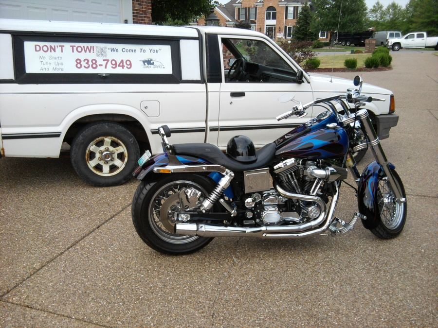 PMC Super Tuners Inc. mobile motorcycle repair shop specializing in preventive maintenance, carburetor, fuel system issues, diagnostics. Don't tow; we'll help fix your motorcycle, scooter, ATV repair problems on the spot. A customer had this custom 1997 Harley Davidson Dyna glide that would not start.  After cleaning, rebuilding the carburetor and replacing the accelerator pump, he was set to go!